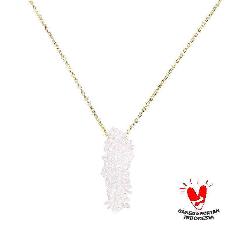 Environmental Jewelry Long Clear Stone Gold Chain Necklace