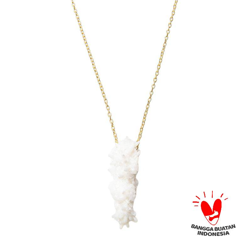 Environmental Jewelry Long Snowwhite Stone Gold Chain Necklace
