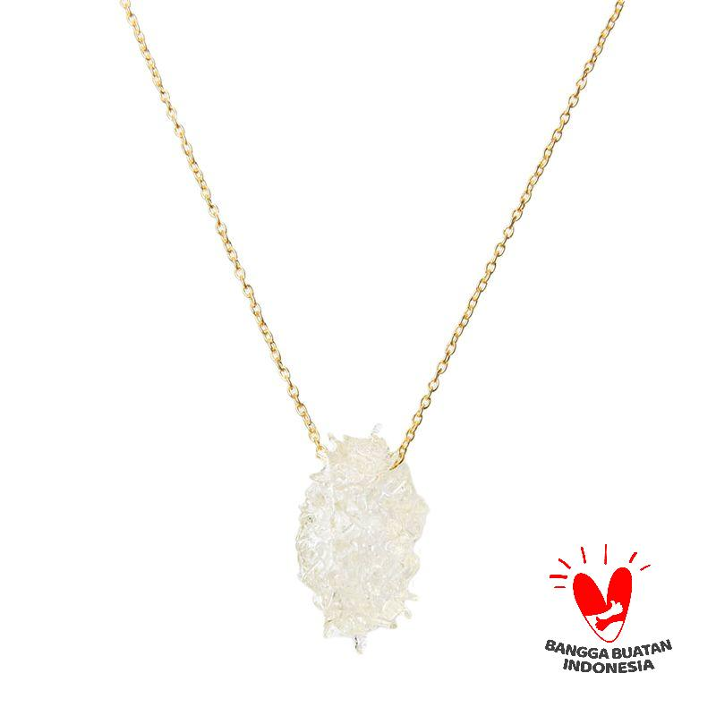 Environmental Jewelry Ouval Clear Stone With Gold Chain Necklace