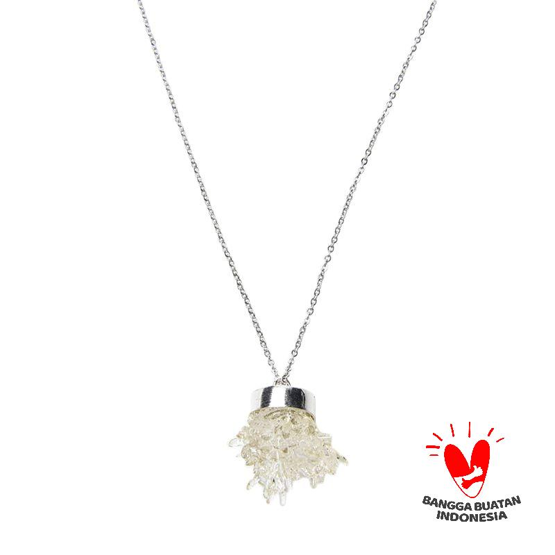 Environmental Jewelry Round Clear Stone With Silver Long Chain Necklace