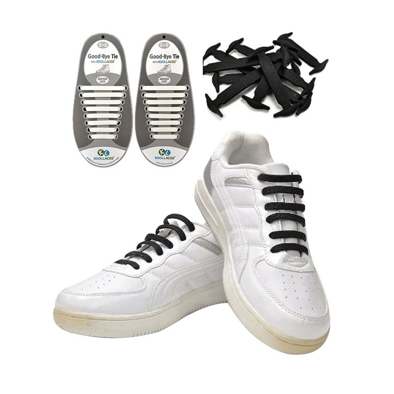 Koollaces Silicon Shoe Laces Black Tali Sepatu