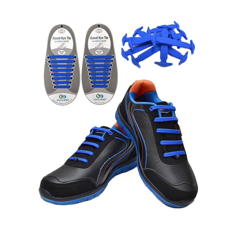 Koollaces Silicon Shoe Laces Blue Tali Sepatu