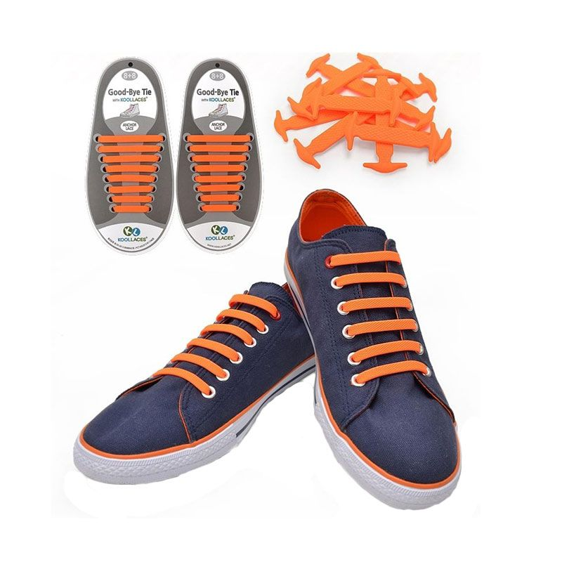 Koollaces Silicon Shoe Laces Orange Tali Sepatu