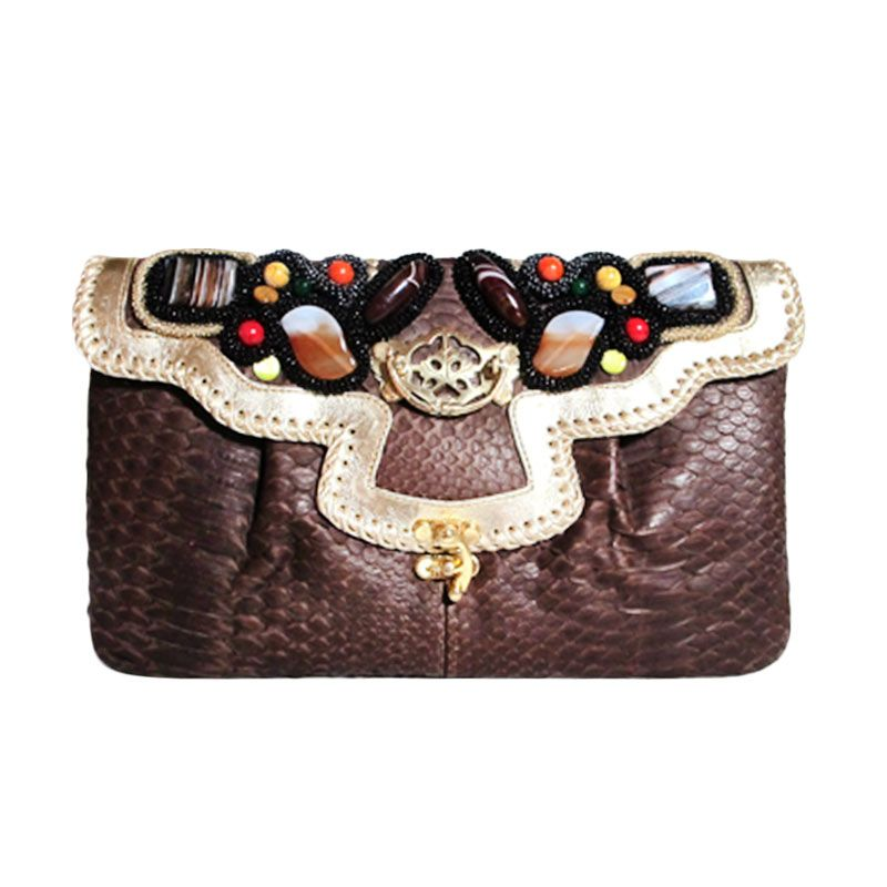 Ethereal Genuine Python Leather Coklat Tua Clutch