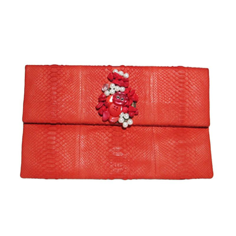 Ethereal Genuine Python Leather Coral Clutch