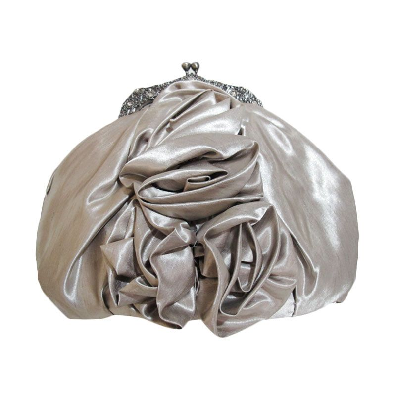 Ethereal Satin Silver Clutch