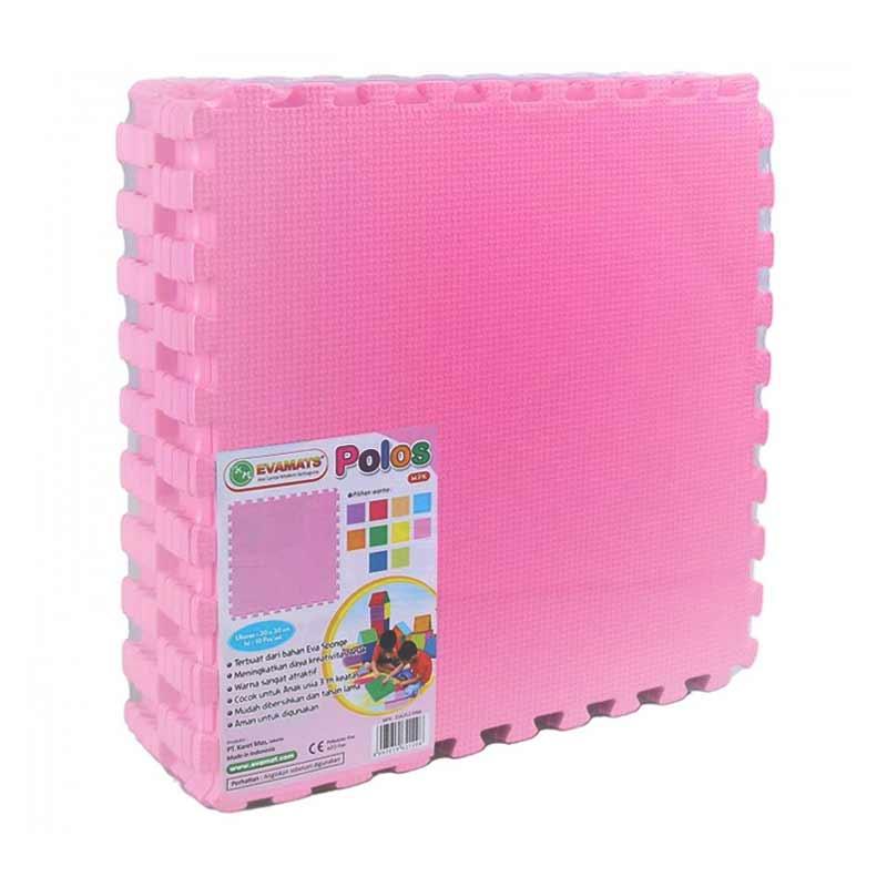 Evamats Polos Pink Alas Lantai - Pink  [30 x 30 cm/10 Pcs]