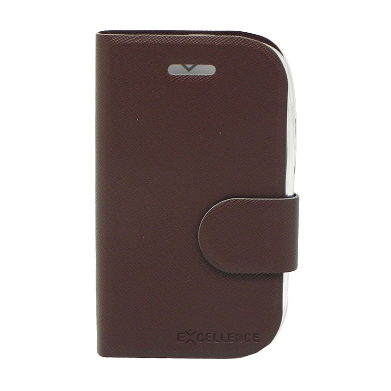 Excellence TPU Inside Flip Cover Casing for BlackBerry 9320 - Brown