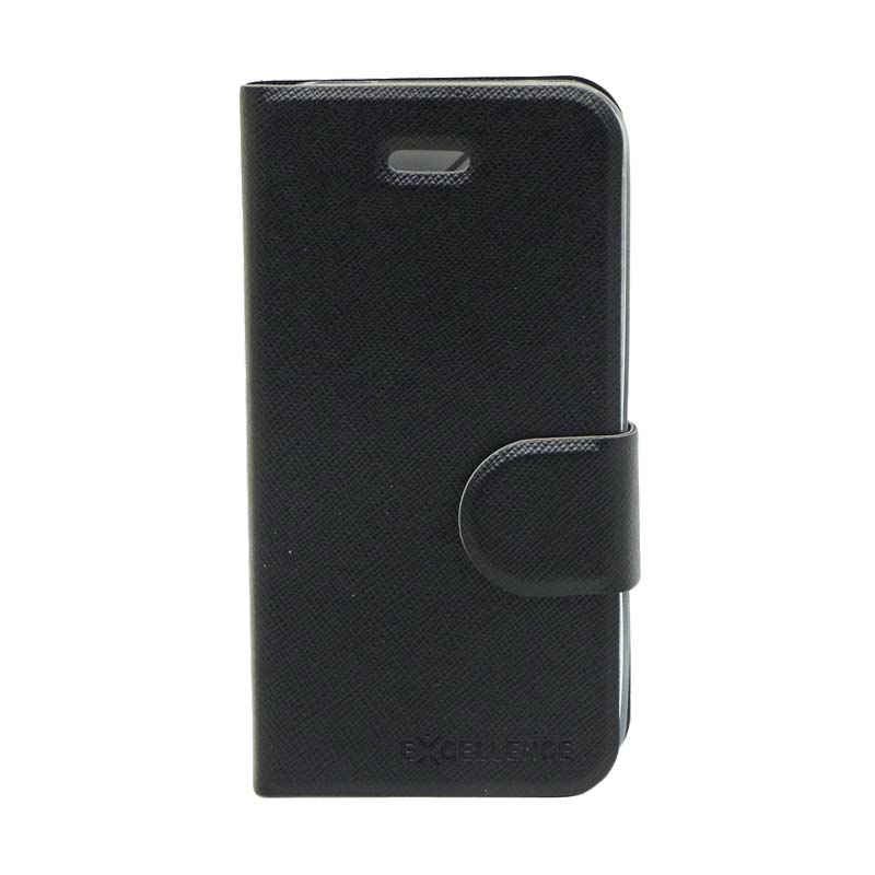 Excellence TPU Inside Flip Cover Casing for iPhone 4 - Black