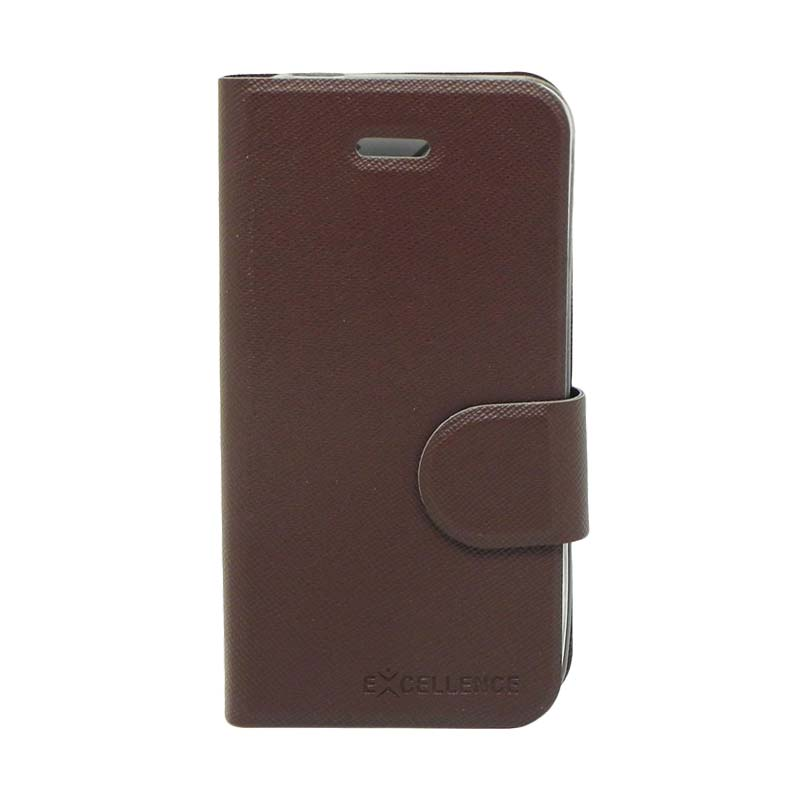 Excellence TPU Inside Flip Cover Casing for iPhone 4 - Brown