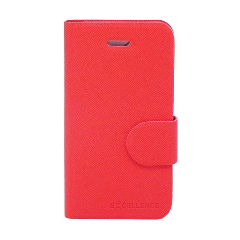 Excellence TPU Inside Flip Cover Casing for iPhone 4 - Red