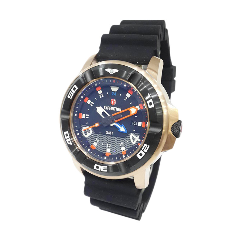 Expedition Sea Walkers Divers GMT 6711MDRBRBA Jam Tangan Pria - Rose Gold + Extra Rubber Strap