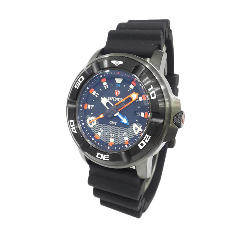 Expedition Sea Walkers Divers GMT 6711MDRIPBA Jam Tangan Pria - Black + Extra Rubber Strap