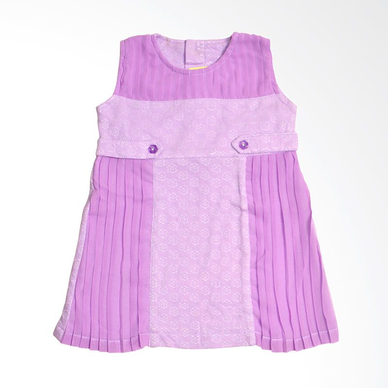 Eyka chiffon pleated toddler Purple Dress Anak