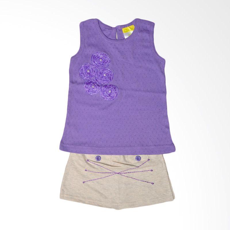 Eyka Rok Celana Rubah Purple Setelan Anak Perempuan