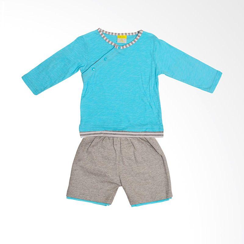 Eyka Setelan Stripe slub baby Turquois Baju Bayi