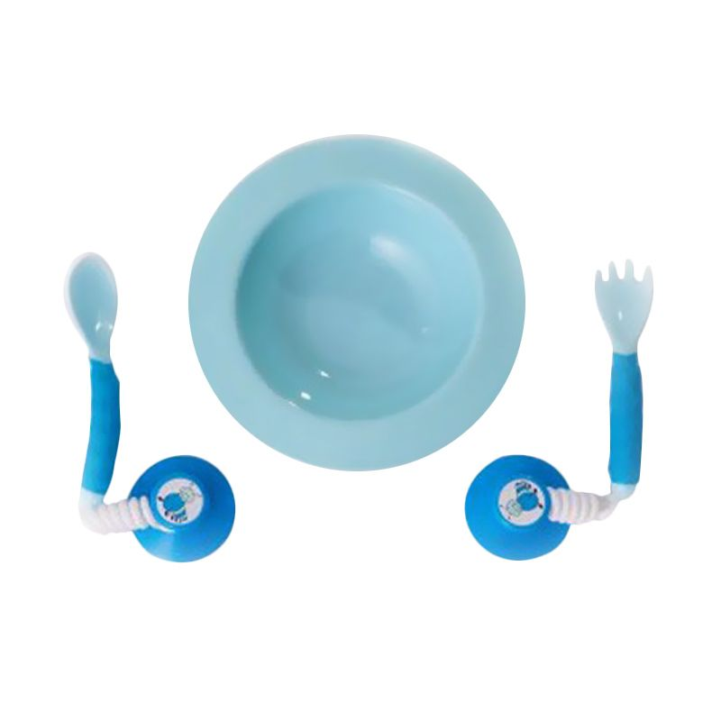 Ezee Reach Stay Put Cutlery + Blue Bowl
