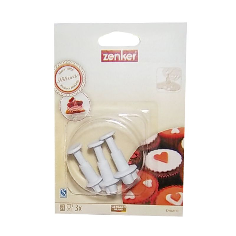 Zenker 3 Heart Shape Cookie Cutter with Pusher Set Alat Dekorasi Kue