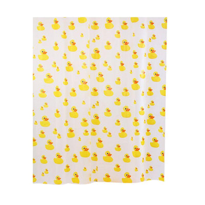 Fantasy PVC Printed Ducks Kuning Shower Curtain Tirai Kamar Mandi