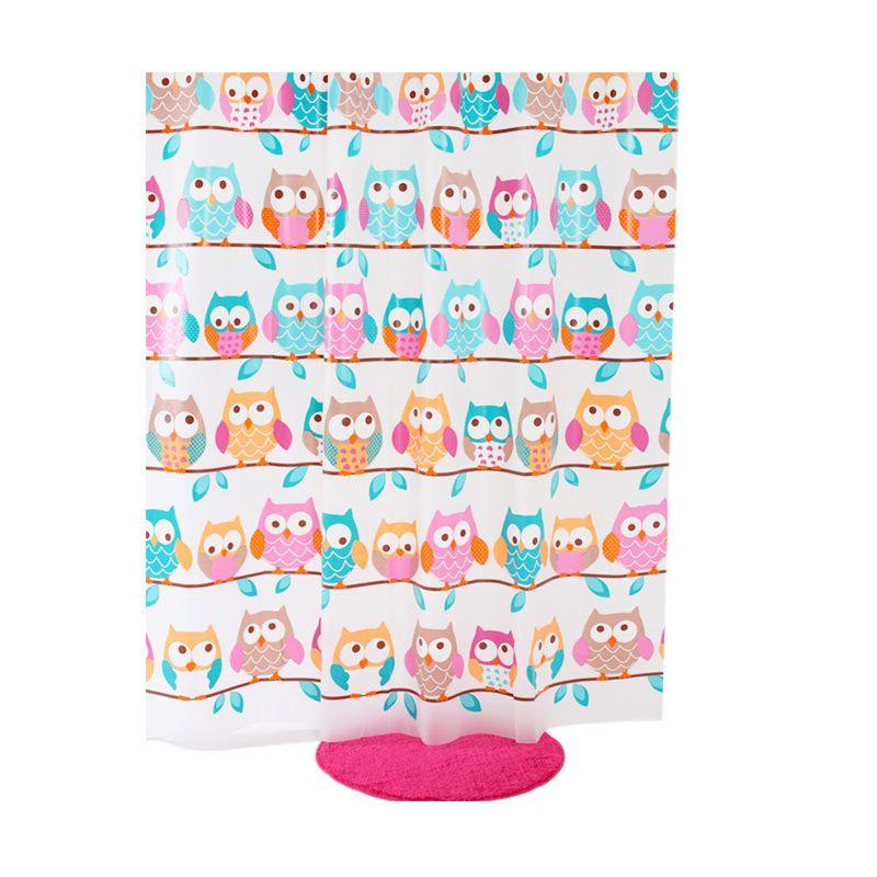 Fantasy PVC Printed Owl Shower Curtain Tirai Kamar Mandi