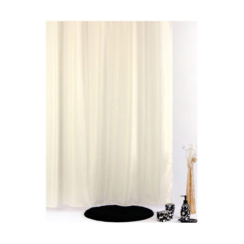 Fantasy Uni Plain Textile Polyester Shower Curtain Beige