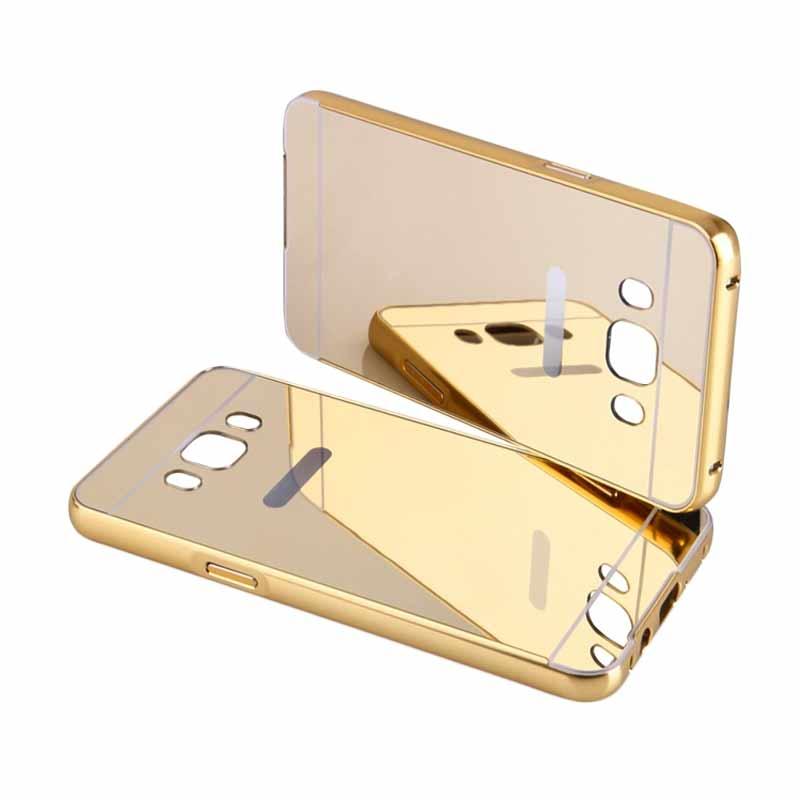 Fashion Case Mirror Metal Bumper Sliding Casing for Samsung Galaxy J5 2016 - Gold