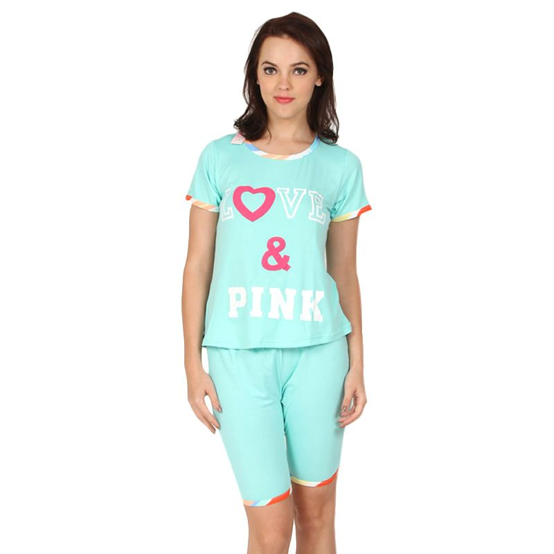You've Pinku Love Sleepwear Set Mint Baju Tidur