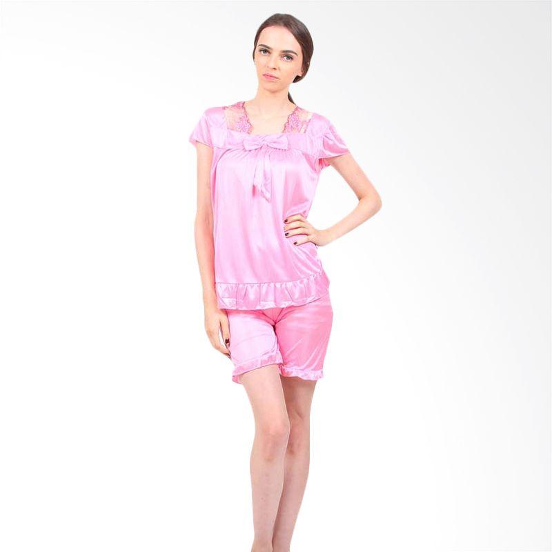 You've Deasy Bow Sleepwear Soft Pink Baju Tidur Wanita