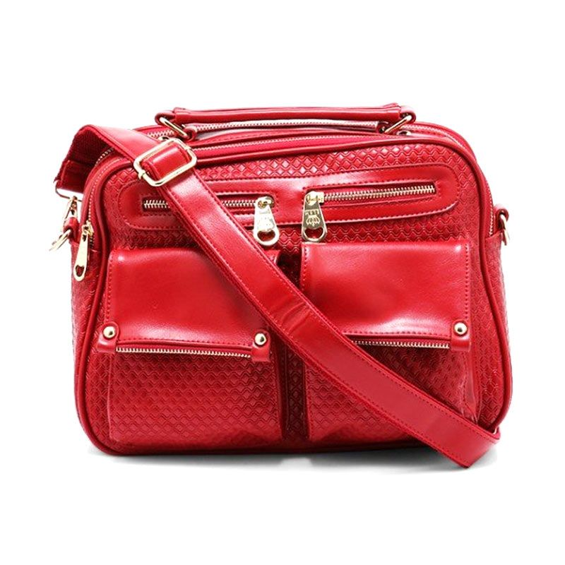 You've 6017  Square Bow Red Tas Selempang