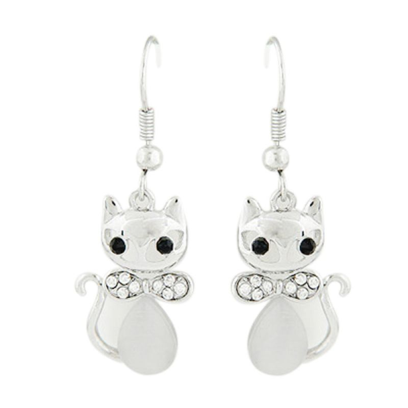Fashion Diamond Cat KE35319 Silver Anting
