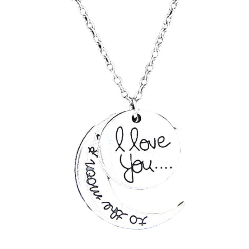 Fashionista Moon I Love You KN37763 Silver Kalung Korea