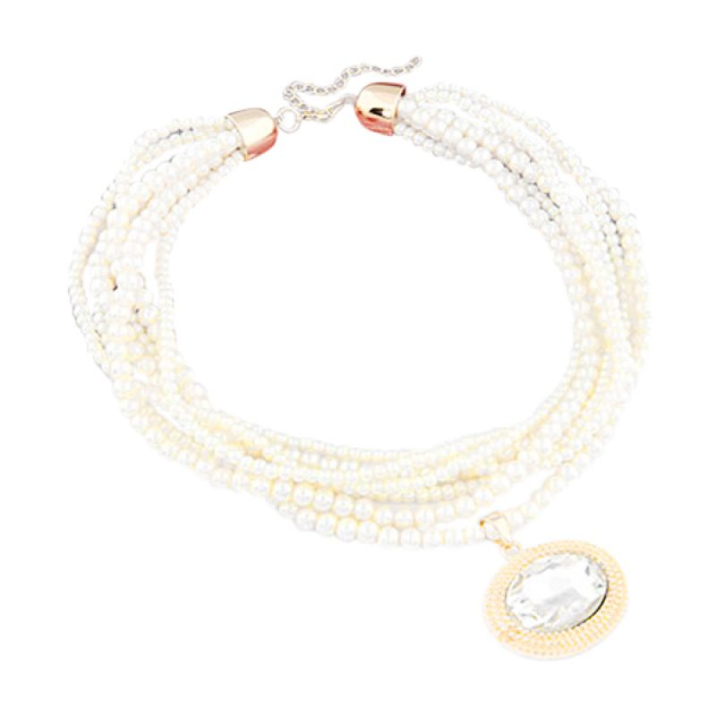Fashion Pearl Multilayer  KN28459 White Kalung