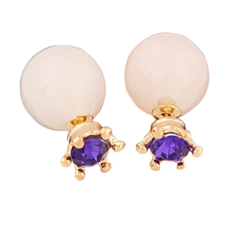 Fashionista Dior Crown KE37351 White Purple Anting