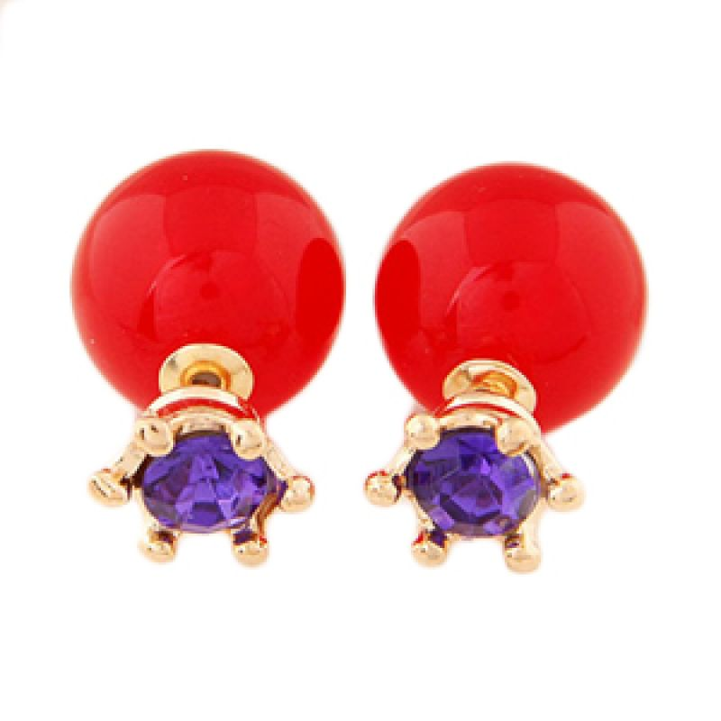 Fashionista Dior Crown KE37366 Red Purple Anting