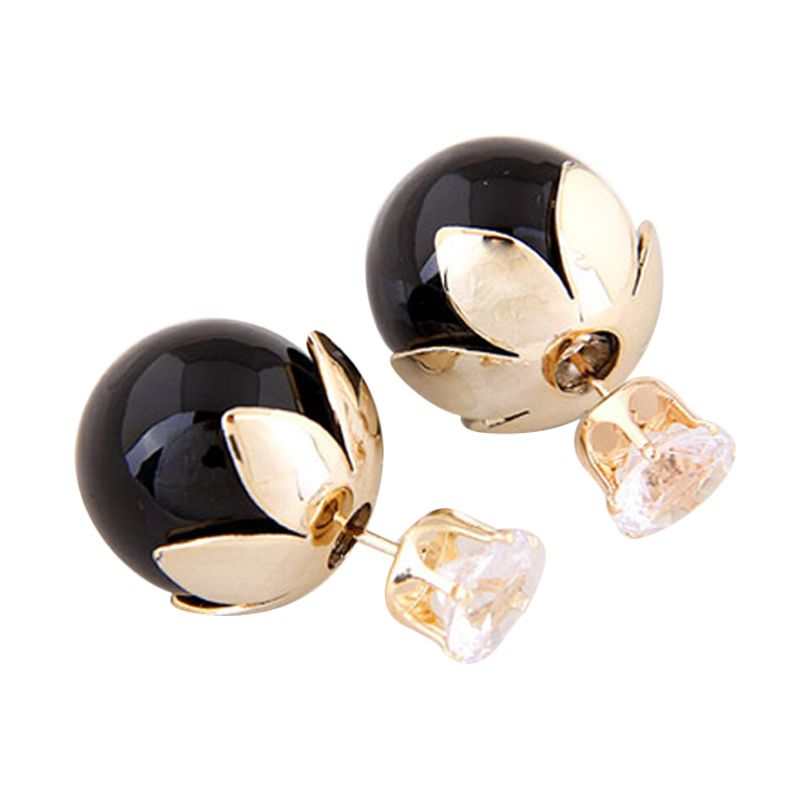Fashionista Dior Flower Crown KE37373 Black Anting