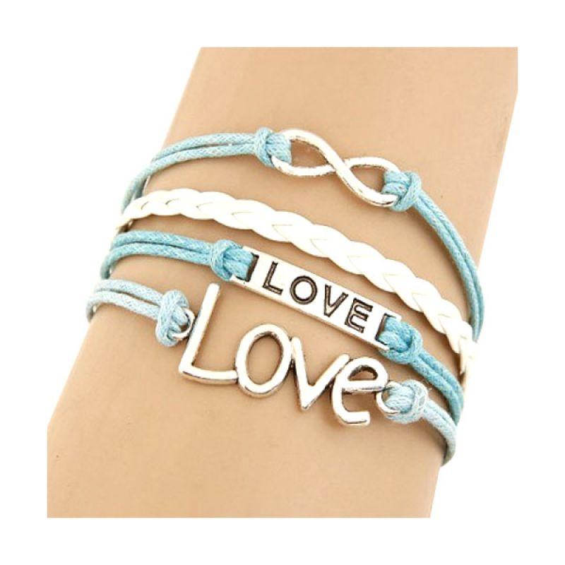 Fashionista KB34449 Korea Multi Charm Infinity and LOVE Letter Biru Gelang