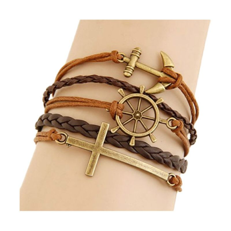 Fashionista KB34451 Korea Multi Charm Cross & Boat Anchor Gelang