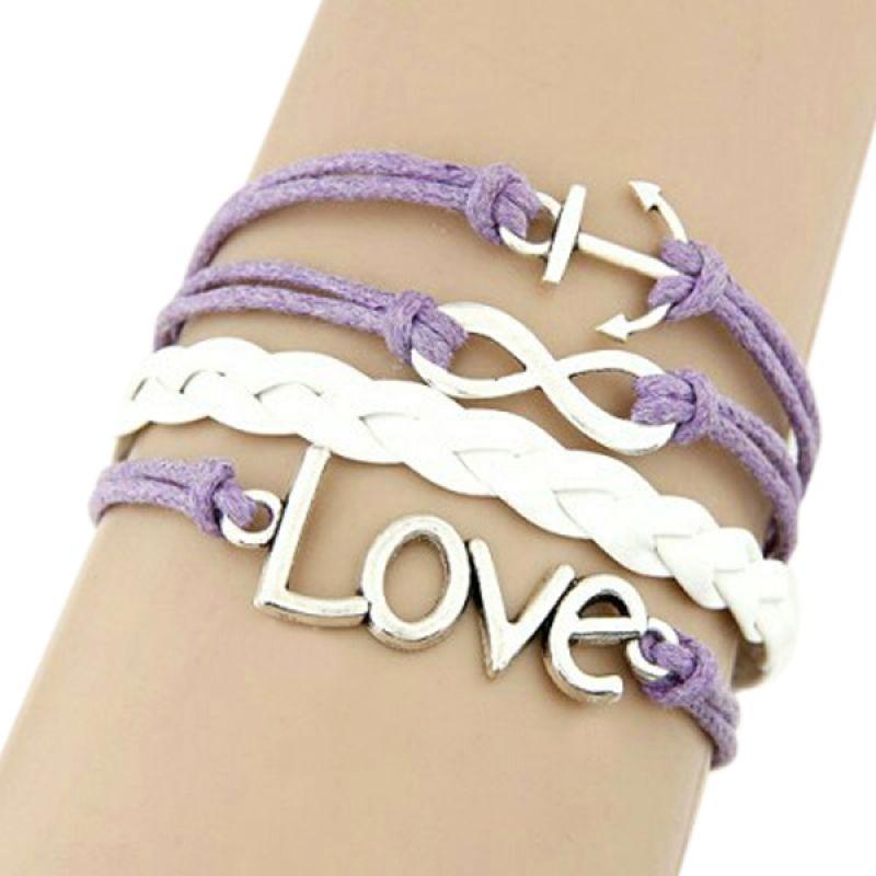 Fashionista KB34476 Korea Multi Charm Love Infinite and Boat Anchor Purple Gelang