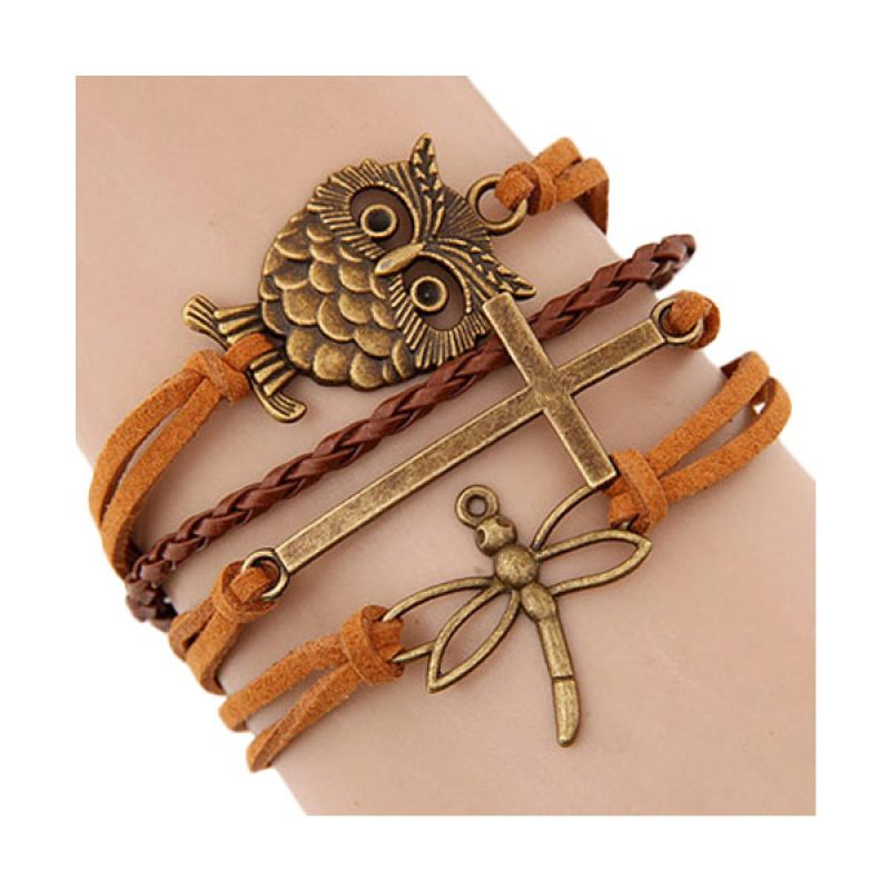 Fashionista KB37124 Korea Multicharm Orange Owl Gelang