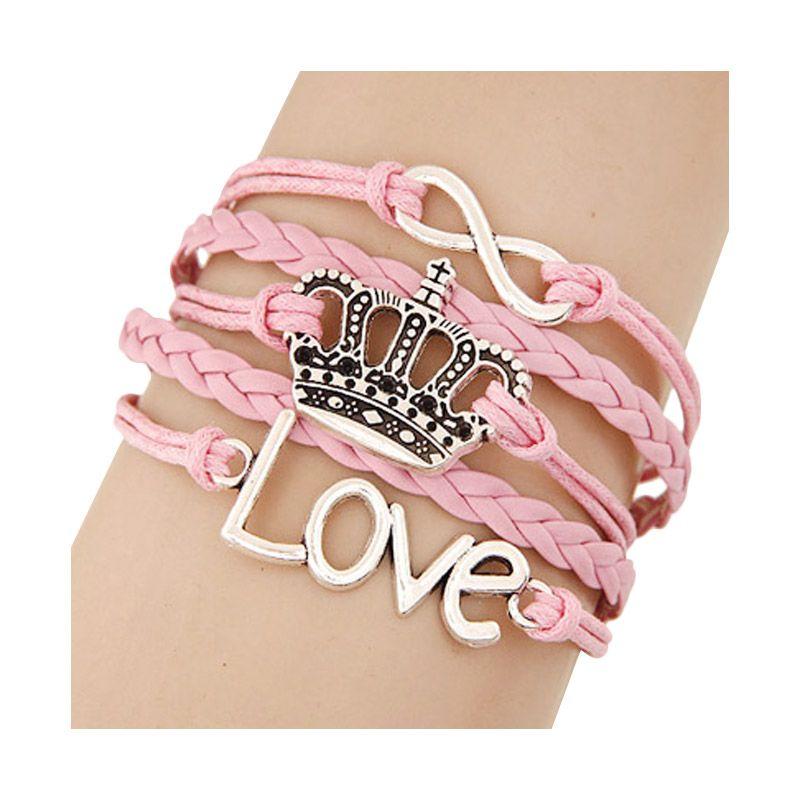 Fashionista Korea Multicharm Peace Cross Crown Love KB39879 Pink Gelang