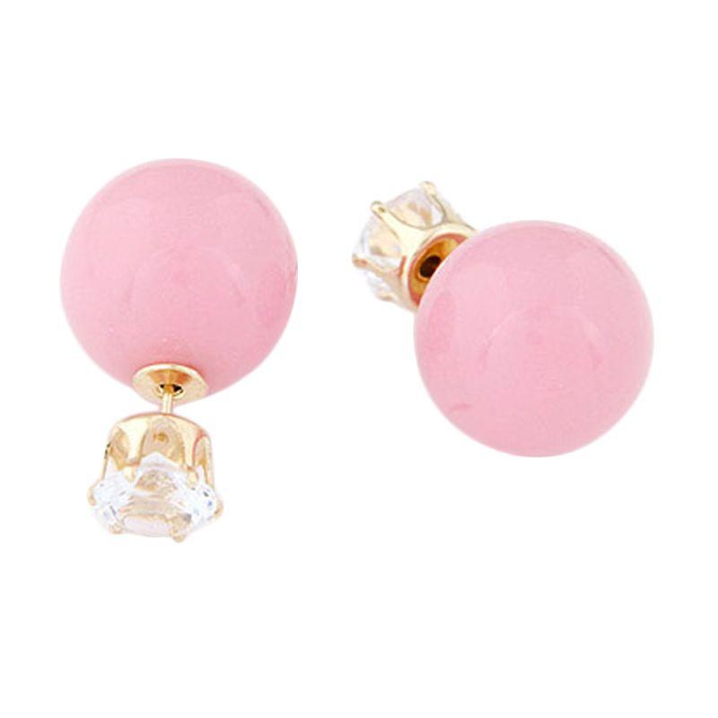 Fashionista KE36508 Korea Dior Crown Pearl Pink Anting