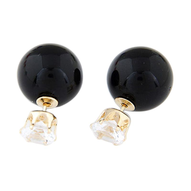 Fashionista KE36516 Korea Dior Crown Pearl Black Anting