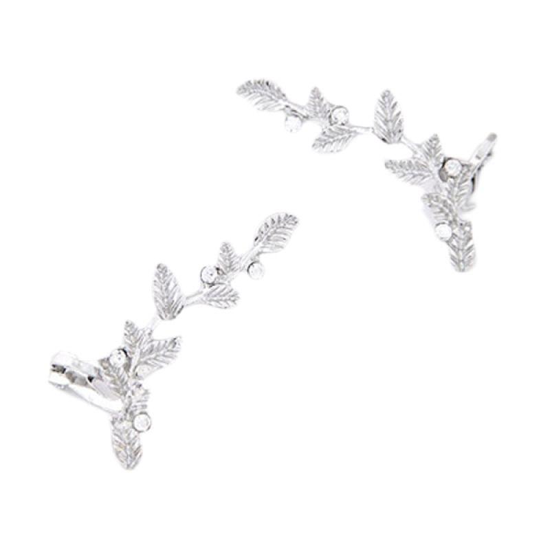 Fashionista KE37142 Korea Leaf Silver Anting