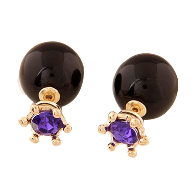 Fashionista KE37346 Dior With Purple Crown Black Anting