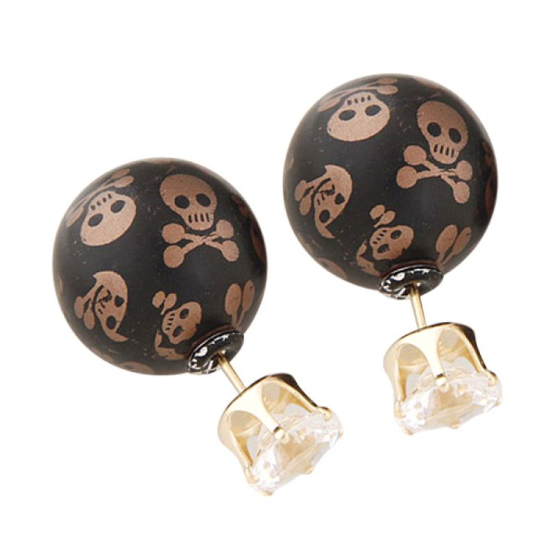 Fashionista Dior Skull KE39721 Brown Anting