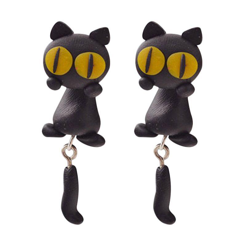 Fashionista Clay Cute Cat KE50755 Black Yellow Anting