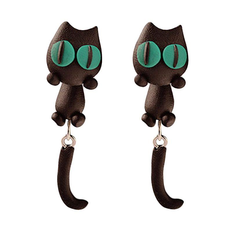 Fashionista Clay Cute Cat KE50756 Black Green Anting