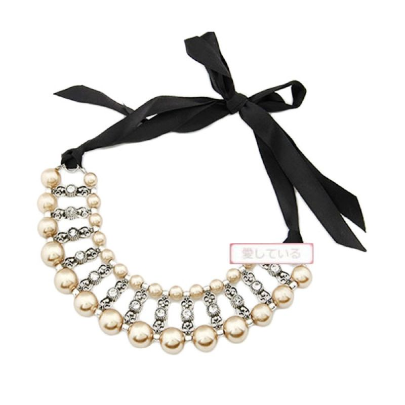 Fashionista KN22216 Korea Weave Pearl Gold Kalung