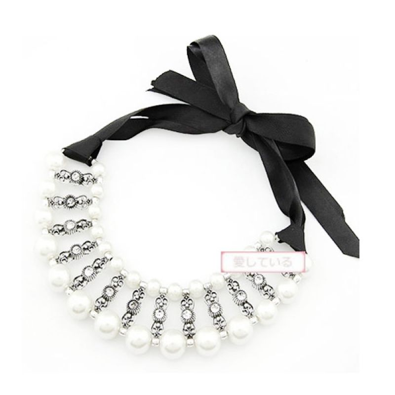 Fashionista KN22217 Korea Weave Pearl White Kalung