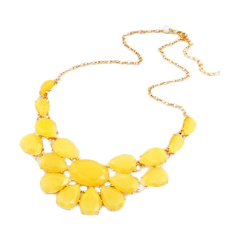Fashionista KN33473 Korea Multilayer Water Drop Gemstone Yellow Kalung